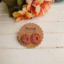 Náušnice - Saffron baldachins - vyšívané puzety - 11682443_