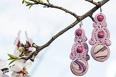 Staroružová Eva - soutache earring - ručne šité šujtášové náušnice