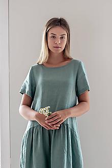 Šaty - Ľanové šaty Martina krátky rukáv - 11683192_