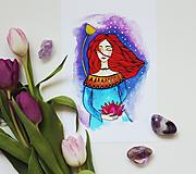 Dievča s lotosovým kvetom - artprint