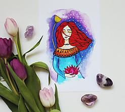Grafika - Dievča s lotosovým kvetom - artprint - 11682857_