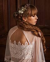 Šaty - Svadobné šaty z bodkovaného tylu s volánovými rukávmi - 11684540_