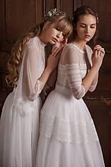Šaty - Svadobné šaty z bodkovaného tylu s volánovými rukávmi - 11684541_
