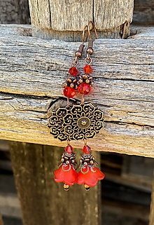 Náušnice - Červené zvončeky v medenom - náušnice - 11684663_