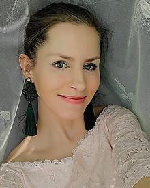 Náušnice - Náušnice s čipkou smaragdové - 11684086_