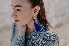 TASSEL Trio - dlhé náušnice so strapcom, modré