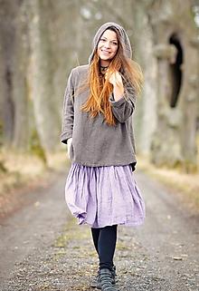 Sukne - Lněná sukně - Lila - 11684117_