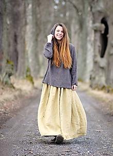 Sukne - Maxi sukně lněná písková - 11684173_