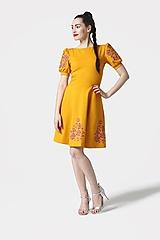 Šaty - Šaty Joy Midi okrové vyšívané - 11685730_