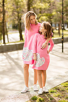 "Detské oblečenie - Teplákové šaty/tunika ""mama a dcéra"" Sandrea 3/4 rukáv - 11686686_"