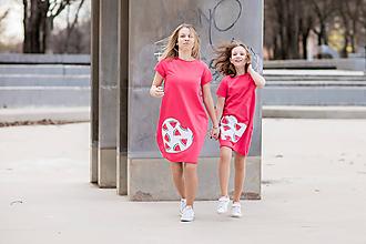 "Detské oblečenie - Teplákové šaty/tunika ""mama a dcéra"" Maribel krátky rukáv - 11686760_"