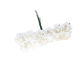 Polotovary - Ružičky papierové 1,5 cm / 12 kusov (Biela) - 11687445_