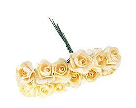 Polotovary - Ružičky papierové 1,5 cm / 12 kusov (Žltá) - 11687447_