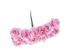 Polotovary - Ružičky papierové 1,5 cm / 12 kusov (Ružová) - 11687448_
