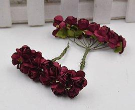 Polotovary - Ružičky papierové 1,5 cm / 12 kusov (Vínovo červená tmavá) - 11687450_