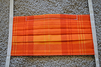 Rúška - Ochranné rúško na tvár  s kovovým pásikom - (oranžová) - 11688550_
