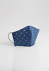 Rúška - Ľanové rúško na tvár - modré bodkované, dvojité - 11688911_