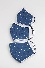 Rúška - Ľanové rúško na tvár - modré bodkované, dvojité - 11688913_