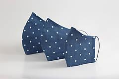Rúška - Ľanové rúško na tvár - modré bodkované, dvojité - 11688980_