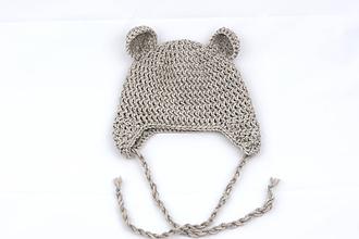 Detské čiapky - Béžová ušianka macko EXTRA FINE - 11688271_