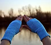 Rukavice - Tyrkysové bavlnené rukavice - 11690411_