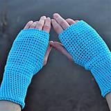 Rukavice - Tyrkysové bavlnené rukavice - 11690412_