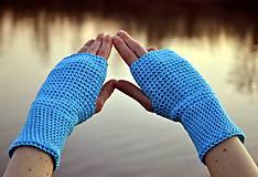 Rukavice - Tyrkysové bavlnené rukavice - 11690413_