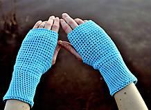 Rukavice - Tyrkysové bavlnené rukavice - 11690414_