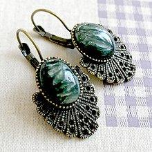 Náušnice - Vintage Seraphinite Earrings / Bronzové náušnice so serafinitom - 11690256_
