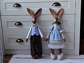 Bábiky - Hnedomodrý párik zajov - 11689816_