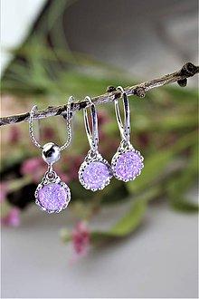 Sady šperkov - drúzy náušnice a prívesok v striebre - luxusný set - 11691262_