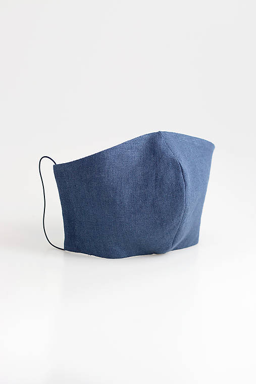 Ľanové rúško dvojité z modrého ľanu