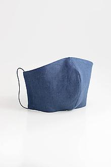 Rúška - Ľanové rúško dvojité z modrého ľanu - 11690357_
