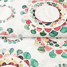 Textil - akvarelové mandaly, zmesové plátno, šírka 140 cm - 11690822_