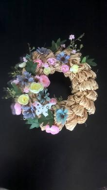 Dekorácie - veľkonočný venček ružovo modrý - 11690261_