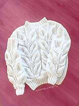 Svetre/Pulóvre - Pletený sveter s listami na pranie darcek zľava - 11691212_