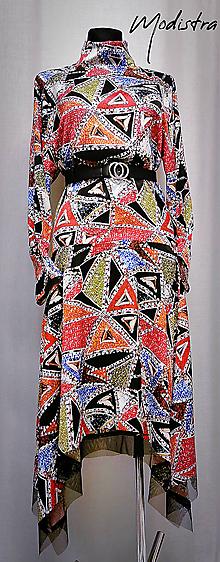 Šaty - Pestrofarebné saténové šaty - 11691043_