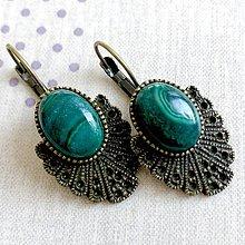 Náušnice - Vintage Malachite Earrings / Bronzové náušnice s malachitom - 11692237_