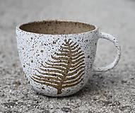 Nádoby - Šálka biela papraďová - 11692407_