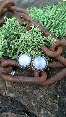 Náušnice - Strieborné náušnice Ag925 Mesačný kameň - 11691809_