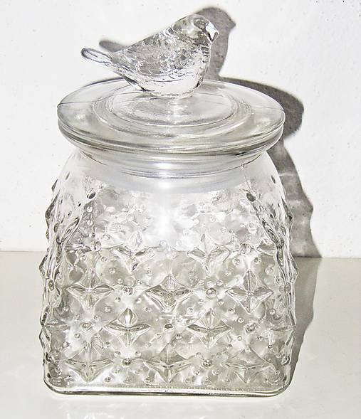 Dóza vtáčik - sklenený polotovar, výška 16 cm