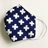 Rúška - dvojvrstvové rúško 100 % bavlna/úplet, Modré krížiky - 11696038_