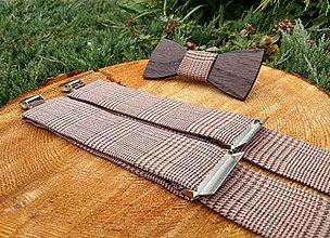 Doplnky - Pánsky drevený motýlik a traky - 11695113_