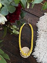 Náhrdelníky - Žlutý náhrdelník pošitý perličkami - 11696670_