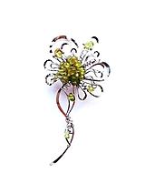 """Odznaky/Brošne - Brošňa B10KO """"Jarní svěžest"""" květ s olivínem - 11694477_"""