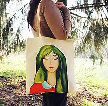 Nákupné tašky - Eko taška - Zelenovláska (100% bavlna) - 11696724_