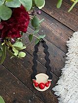 Náhrdelníky - Červené korále na černé vlnce - 11699735_