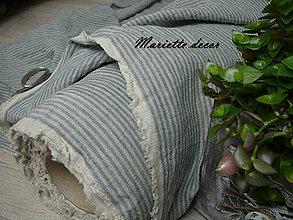 Textil - odstín BLUE/NATURAL stripes...100% len, š.163cm - 11701592_