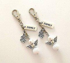 """Kľúčenky - Kľúčenka """"family"""" s anjelikom - biela - 11700915_"""
