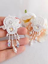 Náušnice - White flower - 11703061_